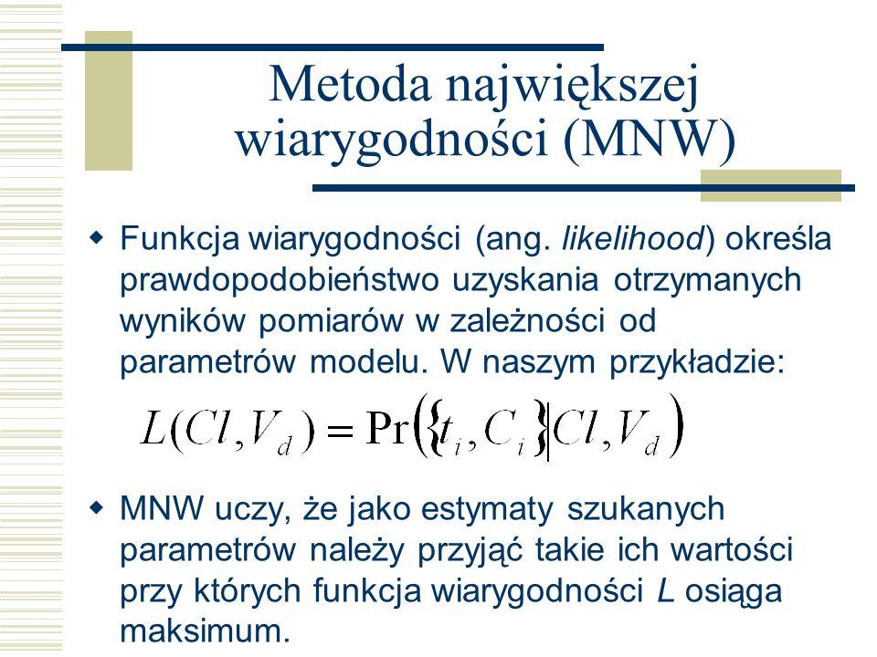 Metoda największej wiarygodności (MNW) Funkcja wiarygodności (ang. likelihood) określa prawdopodobieństwo uzyskania otrzymanych wyników pomiarów w zal