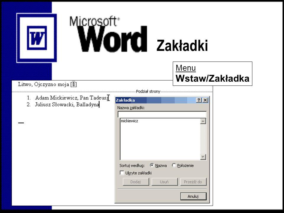 Nagłówek i stopka Klikając na tą ikonkę rozdzielasz/łączysz nagłówki w sąsiadujących sekcjach Aby stworzyć różne nagłówki, należy dokument podzielić na sekcje Podział sekcji Wstaw/Znak podziału