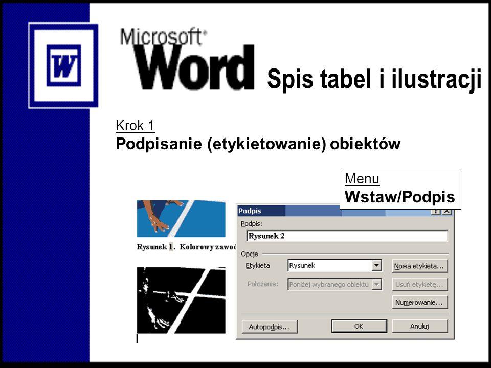 Spis tabel i ilustracji Krok 1 Podpisanie (etykietowanie) obiektów Menu Wstaw/Podpis