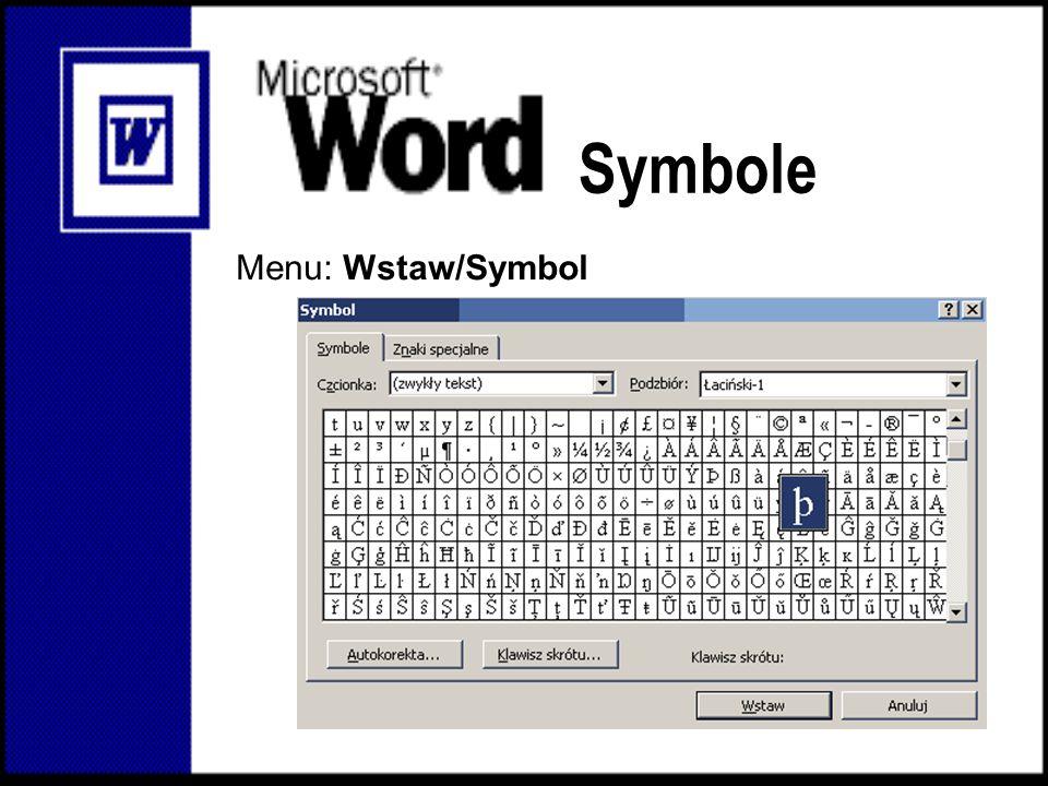 Symbole Menu: Wstaw/Symbol