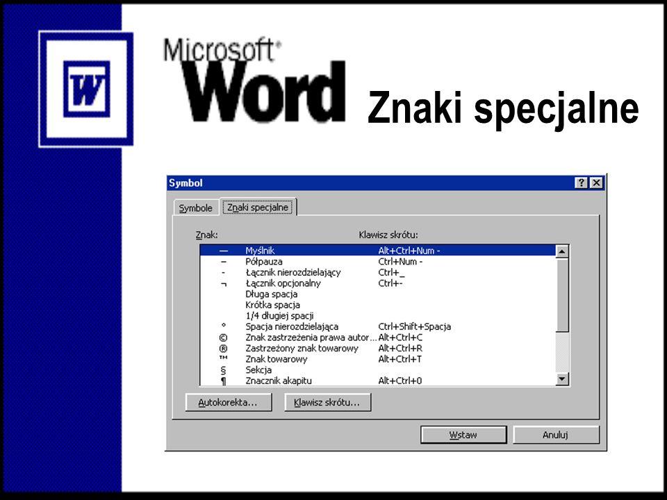 Edytor równań Aby dodać równanie wybieramy z menu: Wstaw/Obiekt/Microsoft Equation 3.0.