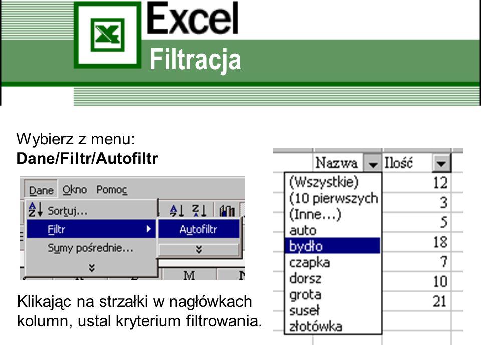 Filtracja Wybierz z menu: Dane/Filtr/Autofiltr Klikając na strzałki w nagłówkach kolumn, ustal kryterium filtrowania.