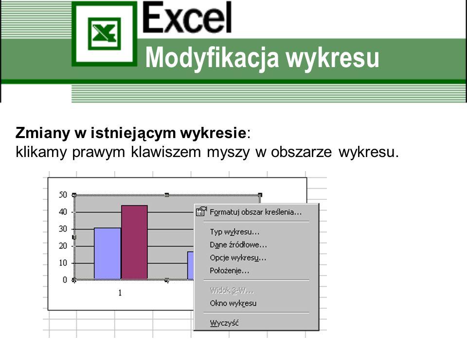 Modyfikacja wykresu Zmiany w istniejącym wykresie: klikamy prawym klawiszem myszy w obszarze wykresu.