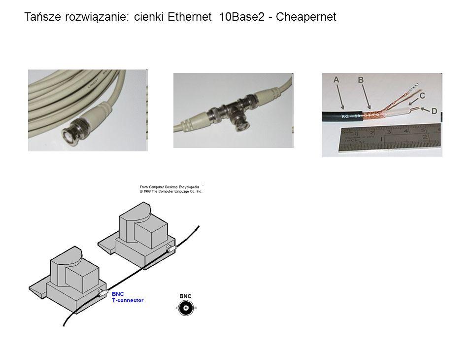 Tańsze rozwiązanie: cienki Ethernet 10Base2 - Cheapernet