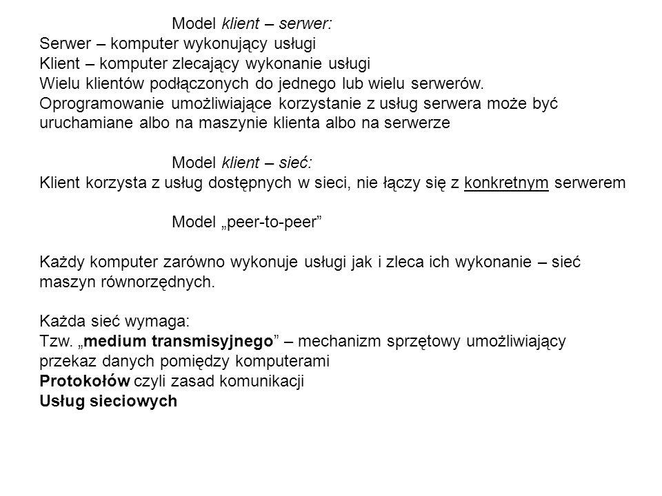 Model klient – serwer: Serwer – komputer wykonujący usługi Klient – komputer zlecający wykonanie usługi Wielu klientów podłączonych do jednego lub wie