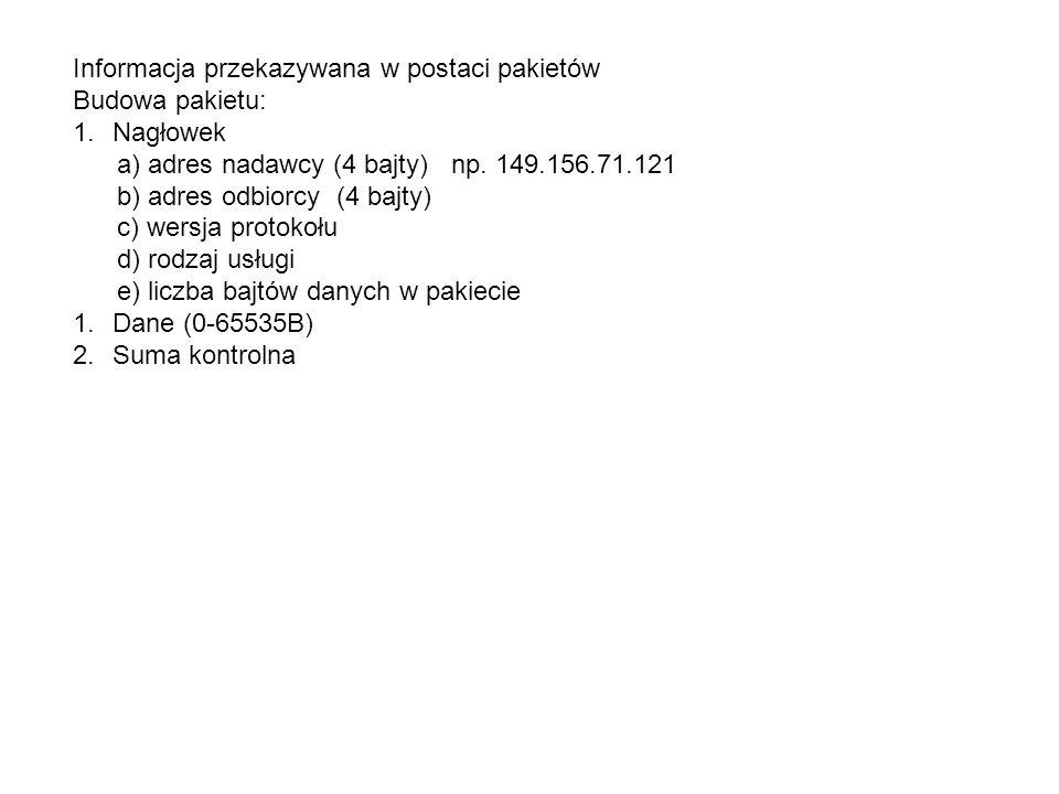 Informacja przekazywana w postaci pakietów Budowa pakietu: 1.Nagłowek a) adres nadawcy (4 bajty) np. 149.156.71.121 b) adres odbiorcy (4 bajty) c) wer