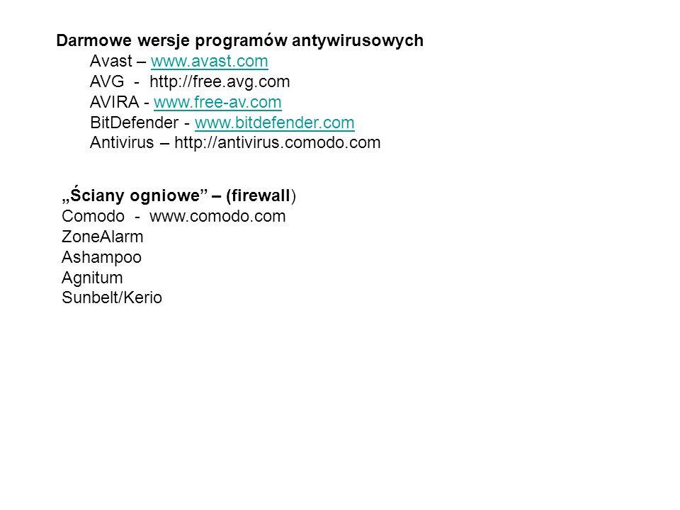 Darmowe wersje programów antywirusowych Avast – www.avast.comwww.avast.com AVG - http://free.avg.com AVIRA - www.free-av.comwww.free-av.com BitDefende