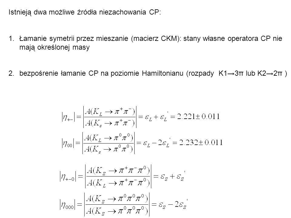 Istnieją dwa możliwe źródła niezachowania CP: 1.Łamanie symetrii przez mieszanie (macierz CKM): stany własne operatora CP nie mają określonej masy 2.b