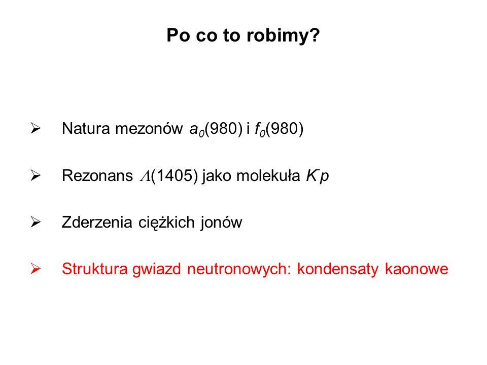 Natura mezonów a 0 (980) i f 0 (980) Rezonans (1405) jako molekuła K - p Zderzenia ciężkich jonów Struktura gwiazd neutronowych: kondensaty kaonowe Po