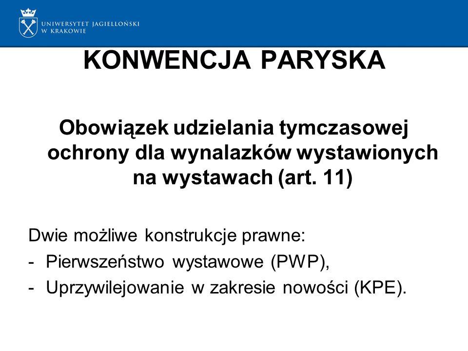 KONWENCJA PARYSKA Obowiązek udzielania tymczasowej ochrony dla wynalazków wystawionych na wystawach (art.