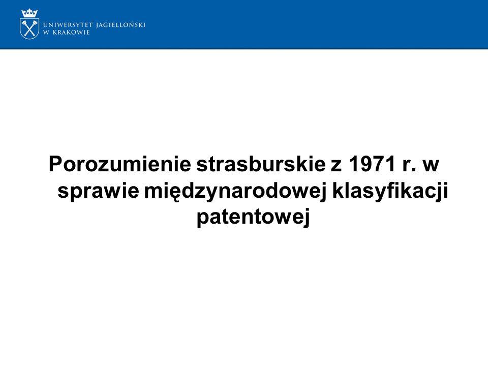 Porozumienie strasburskie z 1971 r. w sprawie międzynarodowej klasyfikacji patentowej