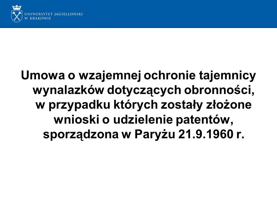 Umowa o wzajemnej ochronie tajemnicy wynalazków dotyczących obronności, w przypadku których zostały złożone wnioski o udzielenie patentów, sporządzona w Paryżu 21.9.1960 r.