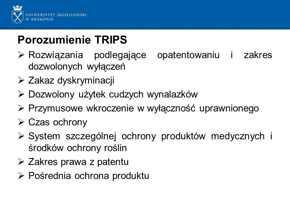 Porozumienie TRIPS Rozwiązania podlegające opatentowaniu i zakres dozwolonych wyłączeń Zakaz dyskryminacji Dozwolony użytek cudzych wynalazków Przymusowe wkroczenie w wyłączność uprawnionego Czas ochrony System szczególnej ochrony produktów medycznych i środków ochrony roślin Zakres prawa z patentu Pośrednia ochrona produktu