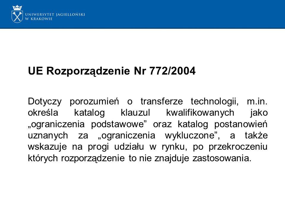 UE Rozporządzenie Nr 772/2004 Dotyczy porozumień o transferze technologii, m.in.