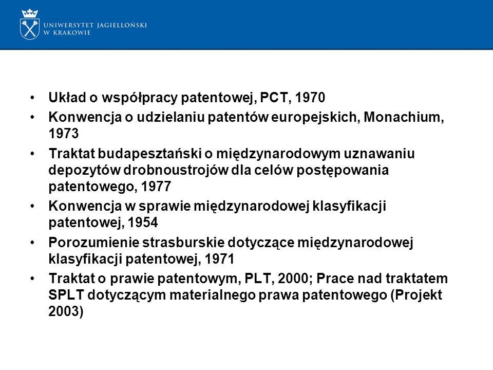 Układ o współpracy patentowej, PCT, 1970 Konwencja o udzielaniu patentów europejskich, Monachium, 1973 Traktat budapesztański o międzynarodowym uznawaniu depozytów drobnoustrojów dla celów postępowania patentowego, 1977 Konwencja w sprawie międzynarodowej klasyfikacji patentowej, 1954 Porozumienie strasburskie dotyczące międzynarodowej klasyfikacji patentowej, 1971 Traktat o prawie patentowym, PLT, 2000; Prace nad traktatem SPLT dotyczącym materialnego prawa patentowego (Projekt 2003)