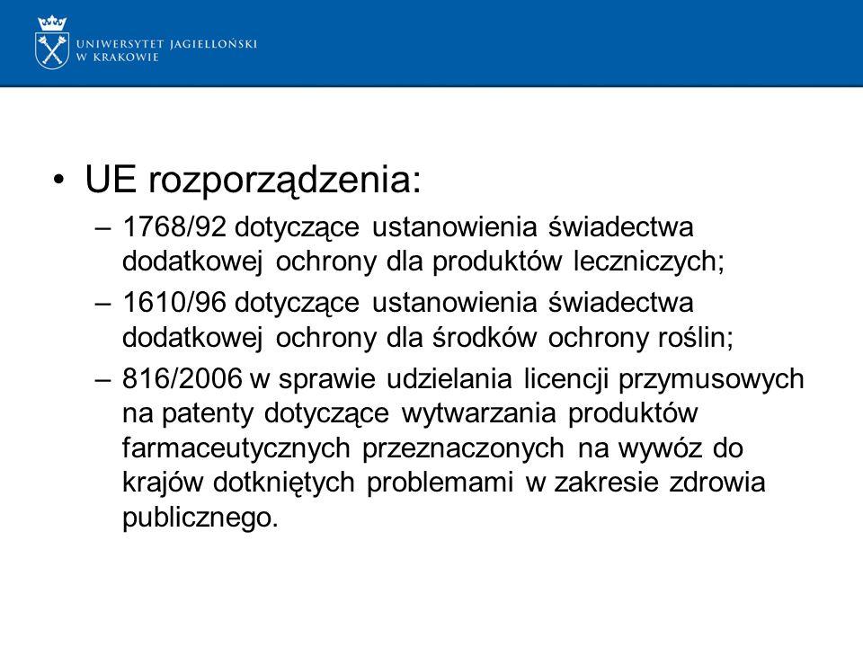 UE rozporządzenia: –1768/92 dotyczące ustanowienia świadectwa dodatkowej ochrony dla produktów leczniczych; –1610/96 dotyczące ustanowienia świadectwa dodatkowej ochrony dla środków ochrony roślin; –816/2006 w sprawie udzielania licencji przymusowych na patenty dotyczące wytwarzania produktów farmaceutycznych przeznaczonych na wywóz do krajów dotkniętych problemami w zakresie zdrowia publicznego.
