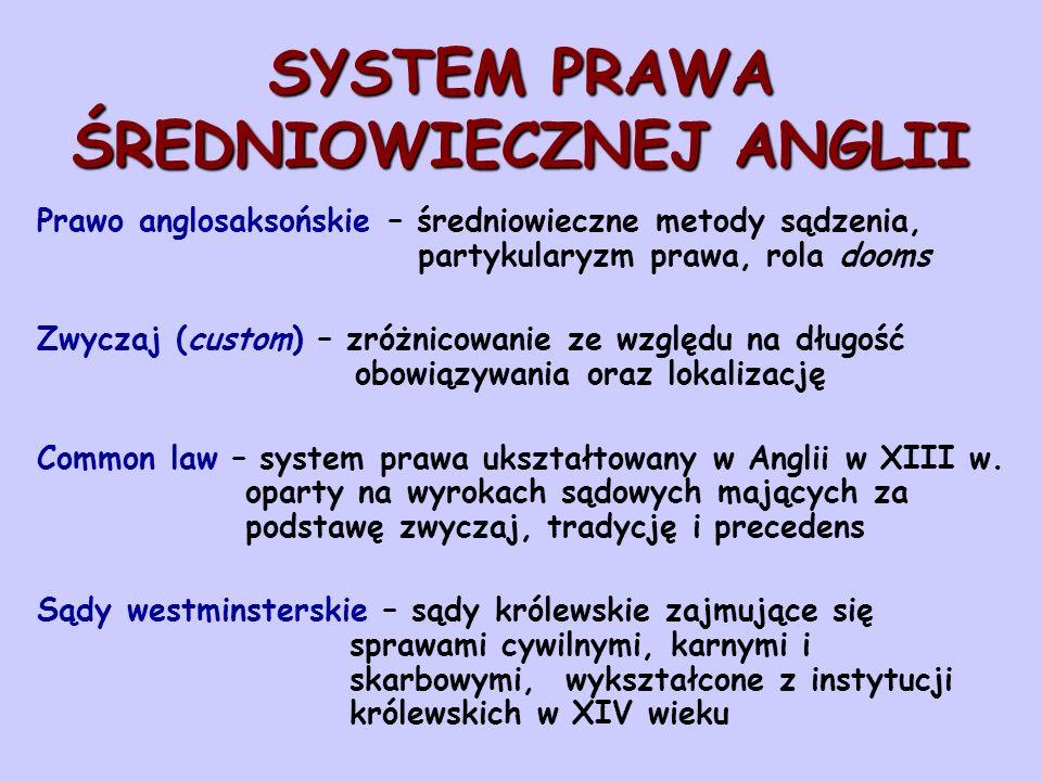SYSTEM PRAWA ŚREDNIOWIECZNEJ ANGLII Prawo anglosaksońskie – średniowieczne metody sądzenia, partykularyzm prawa, rola dooms Zwyczaj (custom) – zróżnic