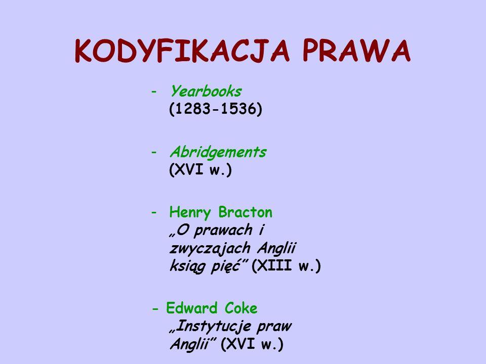 KODYFIKACJA PRAWA -Yearbooks (1283-1536) -Abridgements (XVI w.) -Henry Bracton O prawach i zwyczajach Anglii ksiąg pięć (XIII w.) - Edward Coke Instyt