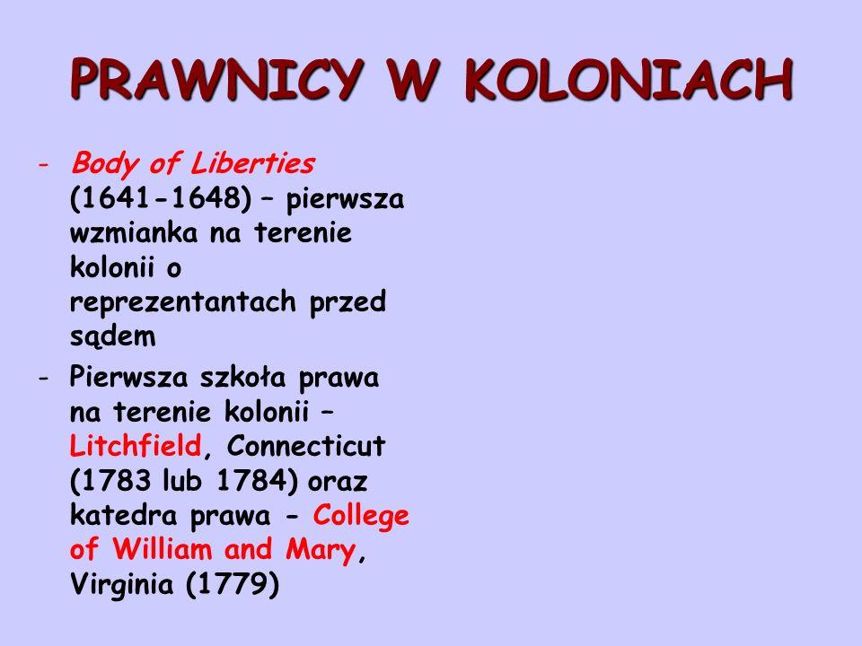 PRAWNICY W KOLONIACH -Body of Liberties (1641-1648) – pierwsza wzmianka na terenie kolonii o reprezentantach przed sądem -Pierwsza szkoła prawa na ter