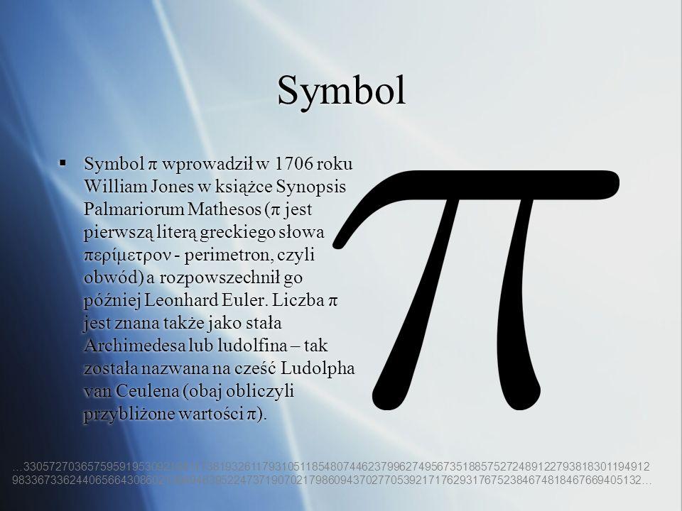 Symbol Symbol π wprowadził w 1706 roku William Jones w książce Synopsis Palmariorum Mathesos (π jest pierwszą literą greckiego słowa περίμετρον - peri