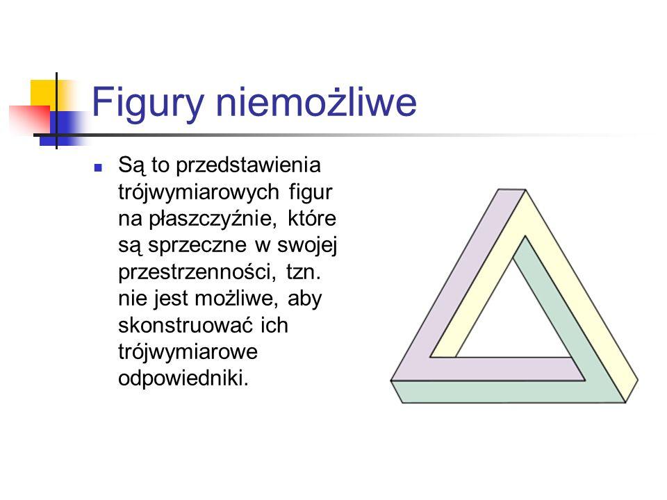 Figury niemożliwe Są to przedstawienia trójwymiarowych figur na płaszczyźnie, które są sprzeczne w swojej przestrzenności, tzn. nie jest możliwe, aby