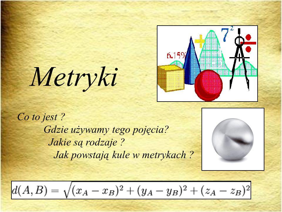 Spis treści: Podstawowe pojęcia Rodzaje metryk Pokaz powstawania kul w różnych metrykach