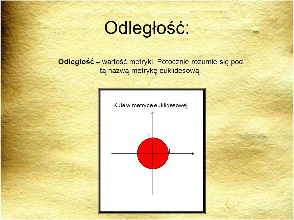 Odległość: Odległość – wartość metryki. Potocznie rozumie się pod tą nazwą metrykę euklidesową. Kula w metryce euklidesowej