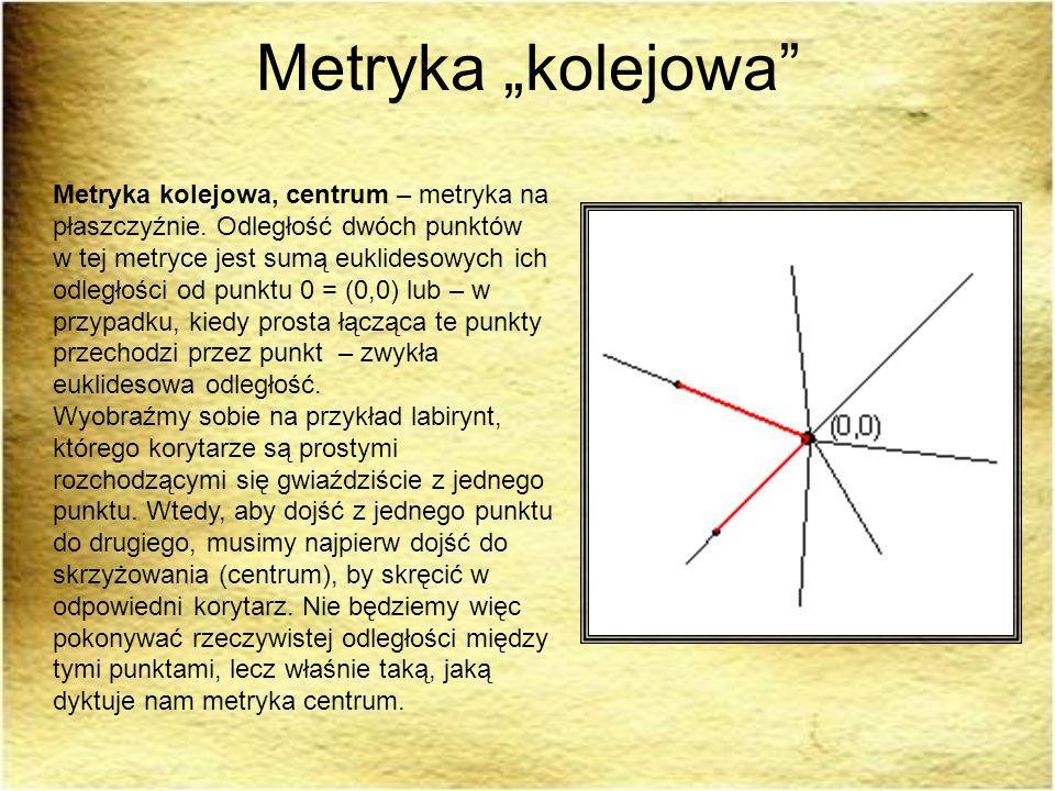 Metryka kolejowa Metryka kolejowa, centrum – metryka na płaszczyźnie. Odległość dwóch punktów w tej metryce jest sumą euklidesowych ich odległości od