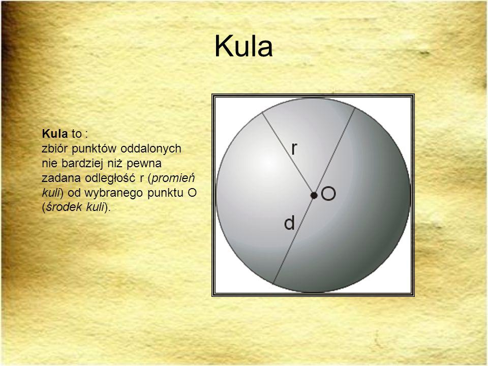 Kula Kula to : zbiór punktów oddalonych nie bardziej niż pewna zadana odległość r (promień kuli) od wybranego punktu O (środek kuli).