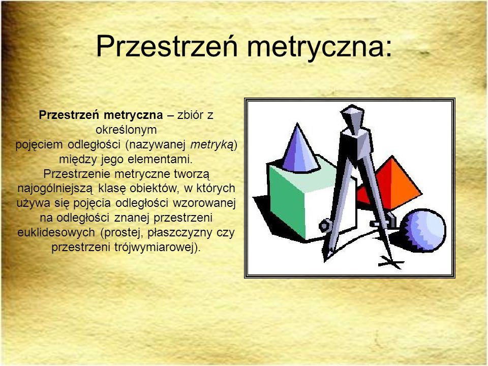 Przestrzeń metryczna: Przestrzeń metryczna – zbiór z określonym pojęciem odległości (nazywanej metryką) między jego elementami. Przestrzenie metryczne