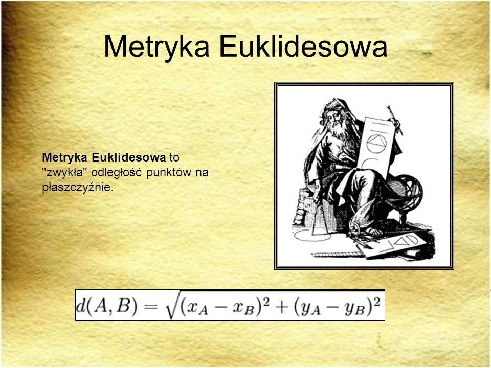 Odległość: Odległość – wartość metryki.Potocznie rozumie się pod tą nazwą metrykę euklidesową.