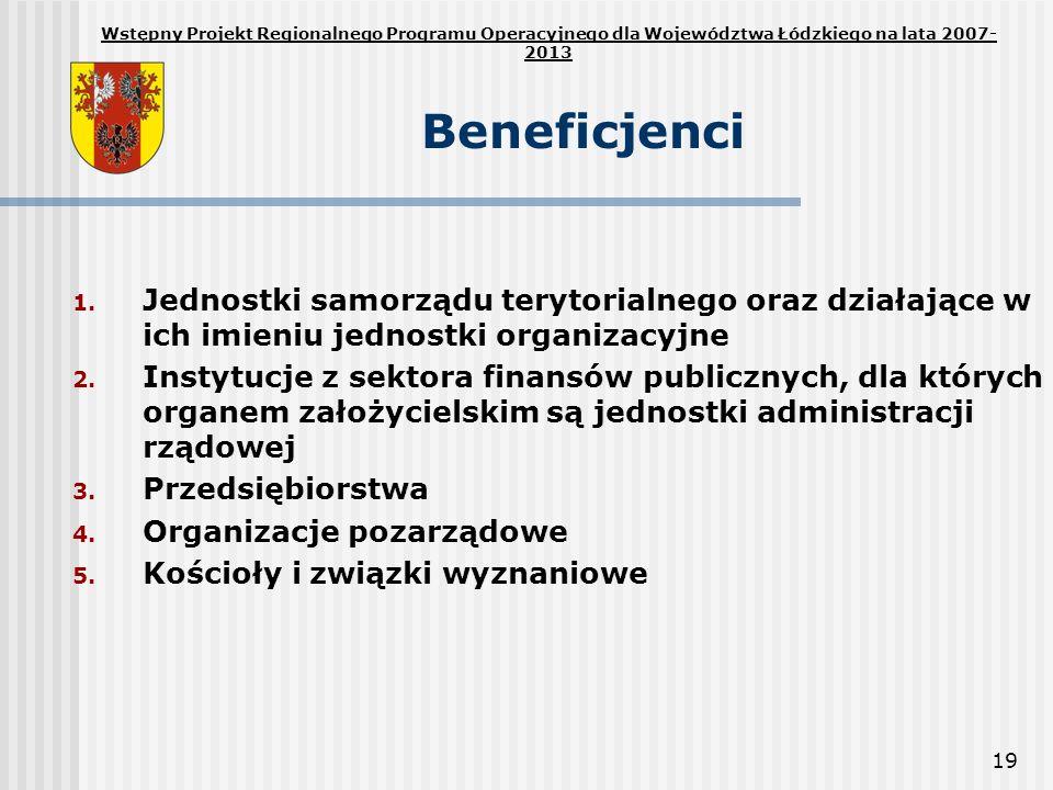 19 Beneficjenci 1. Jednostki samorządu terytorialnego oraz działające w ich imieniu jednostki organizacyjne 2. Instytucje z sektora finansów publiczny