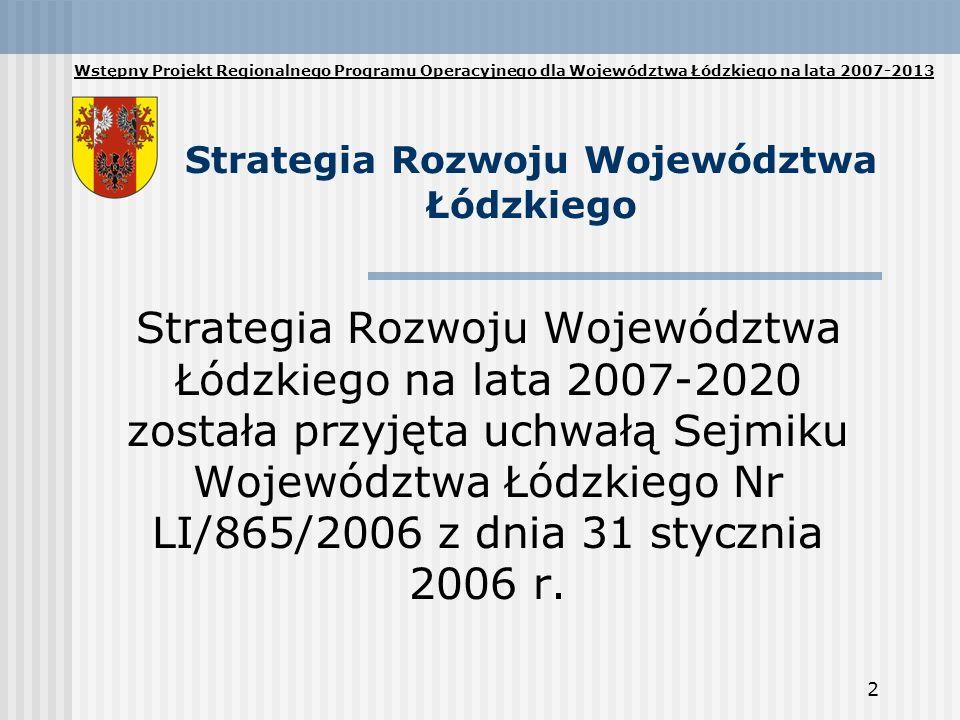 2 Strategia Rozwoju Województwa Łódzkiego Strategia Rozwoju Województwa Łódzkiego na lata 2007-2020 została przyjęta uchwałą Sejmiku Województwa Łódzk