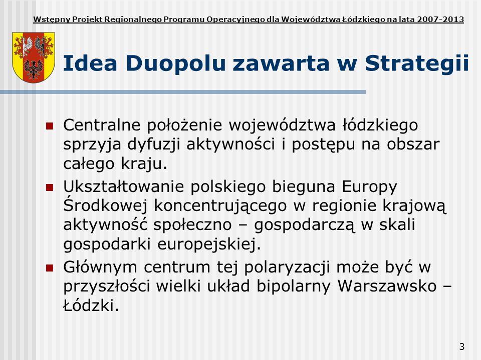 3 Idea Duopolu zawarta w Strategii Centralne położenie województwa łódzkiego sprzyja dyfuzji aktywności i postępu na obszar całego kraju. Ukształtowan