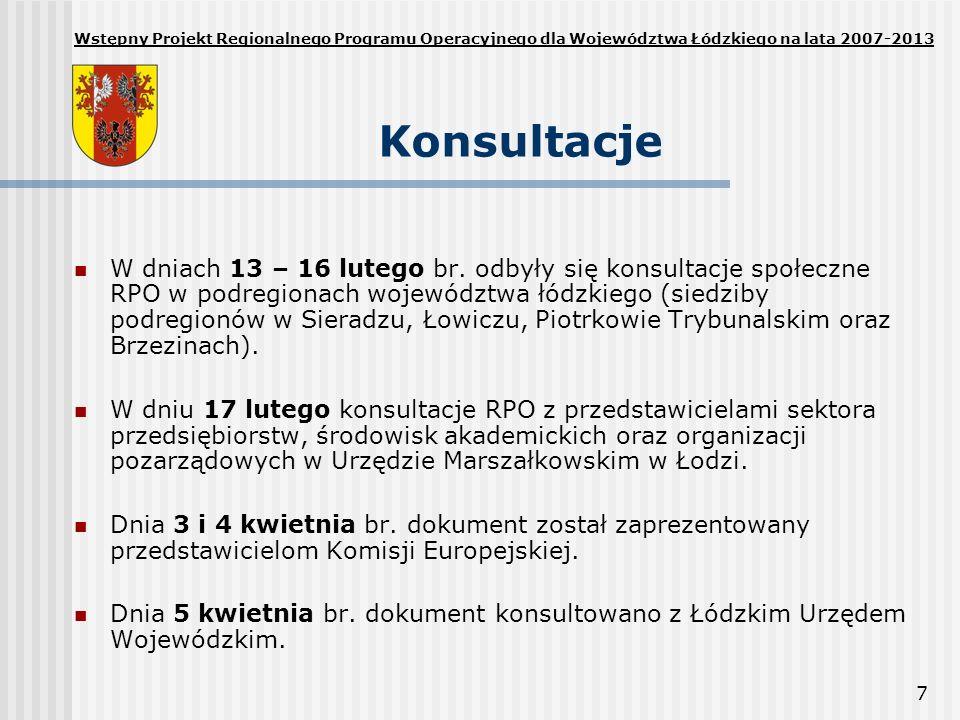 7 Konsultacje W dniach 13 – 16 lutego br. odbyły się konsultacje społeczne RPO w podregionach województwa łódzkiego (siedziby podregionów w Sieradzu,