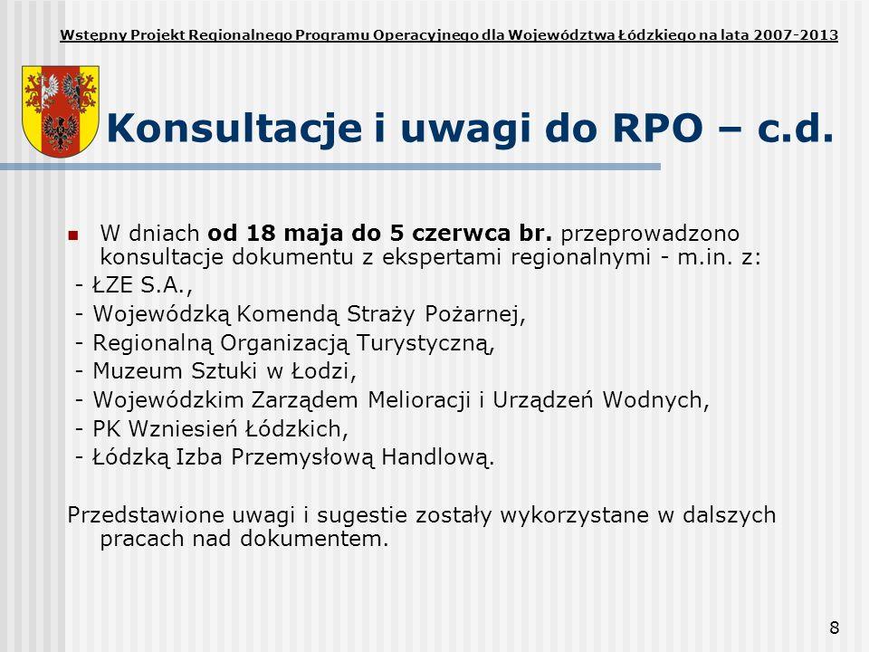8 Konsultacje i uwagi do RPO – c.d. W dniach od 18 maja do 5 czerwca br. przeprowadzono konsultacje dokumentu z ekspertami regionalnymi - m.in. z: - Ł