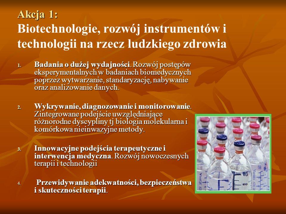 Akcja 1: Akcja 1: Biotechnologie, rozwój instrumentów i technologii na rzecz ludzkiego zdrowia 1.