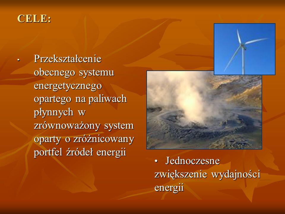 CELE: Przekształcenie obecnego systemu energetycznego opartego na paliwach płynnych w zrównoważony system oparty o zróżnicowany portfel źródeł energii Przekształcenie obecnego systemu energetycznego opartego na paliwach płynnych w zrównoważony system oparty o zróżnicowany portfel źródeł energii Jednoczesne zwiększenie wydajności energii Jednoczesne zwiększenie wydajności energii