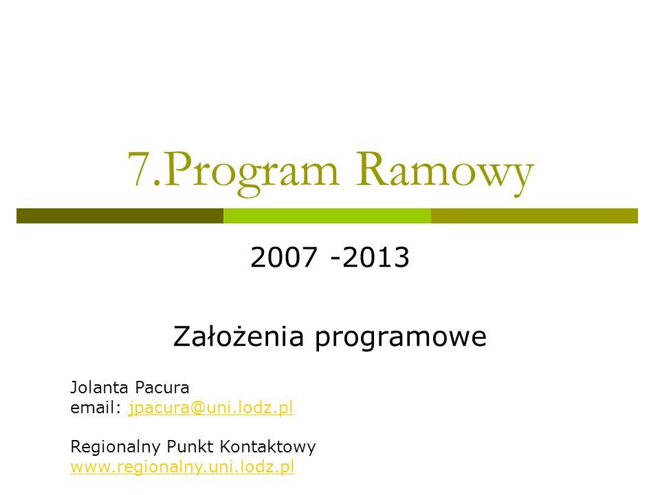 7.Program Ramowy 2007 -2013 Założenia programowe Jolanta Pacura email: jpacura@uni.lodz.pljpacura@uni.lodz.pl Regionalny Punkt Kontaktowy www.regionalny.uni.lodz.pl