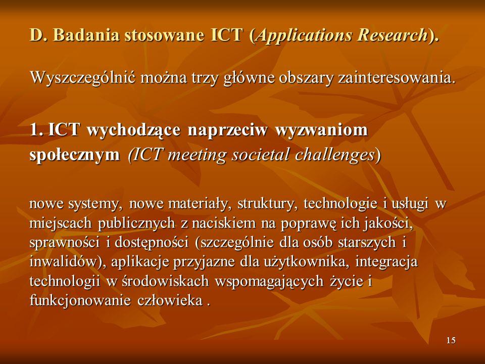 15 D.Badania stosowane ICT (Applications Research).