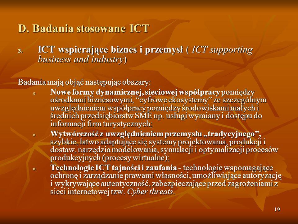 19 D.Badania stosowane ICT 3.