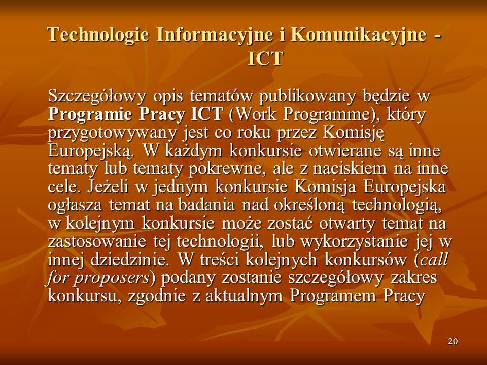 20 Technologie Informacyjne i Komunikacyjne - ICT Szczegółowy opis tematów publikowany będzie w Programie Pracy ICT (Work Programme), który przygotowywany jest co roku przez Komisję Europejską.