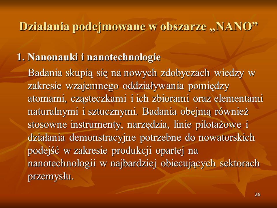26 Działania podejmowane w obszarze NANO 1.