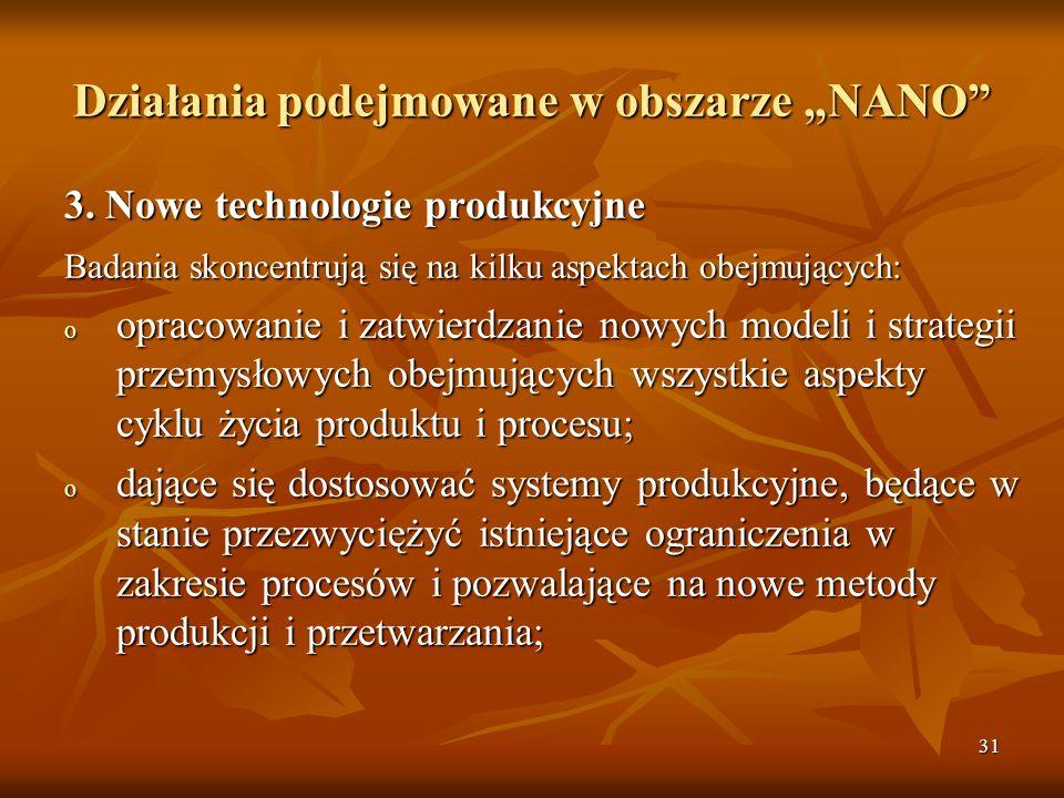 31 Działania podejmowane w obszarze NANO 3.