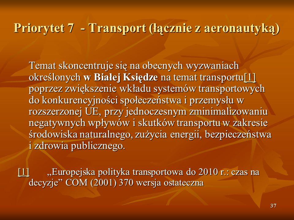 37 Priorytet 7 - Transport (łącznie z aeronautyką) Temat skoncentruje się na obecnych wyzwaniach określonych w Białej Księdze na temat transportu[1] poprzez zwiększenie wkładu systemów transportowych do konkurencyjności społeczeństwa i przemysłu w rozszerzonej UE, przy jednoczesnym zminimalizowaniu negatywnych wpływów i skutków transportu w zakresie środowiska naturalnego, zużycia energii, bezpieczeństwa i zdrowia publicznego.