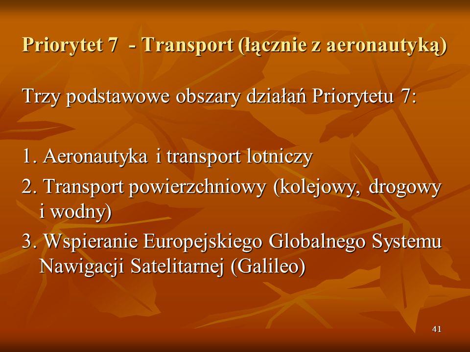 41 Priorytet 7 - Transport (łącznie z aeronautyką) Trzy podstawowe obszary działań Priorytetu 7: 1.