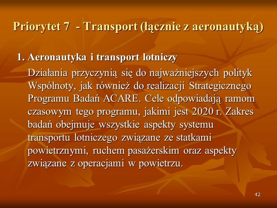 42 Priorytet 7 - Transport (łącznie z aeronautyką) 1.