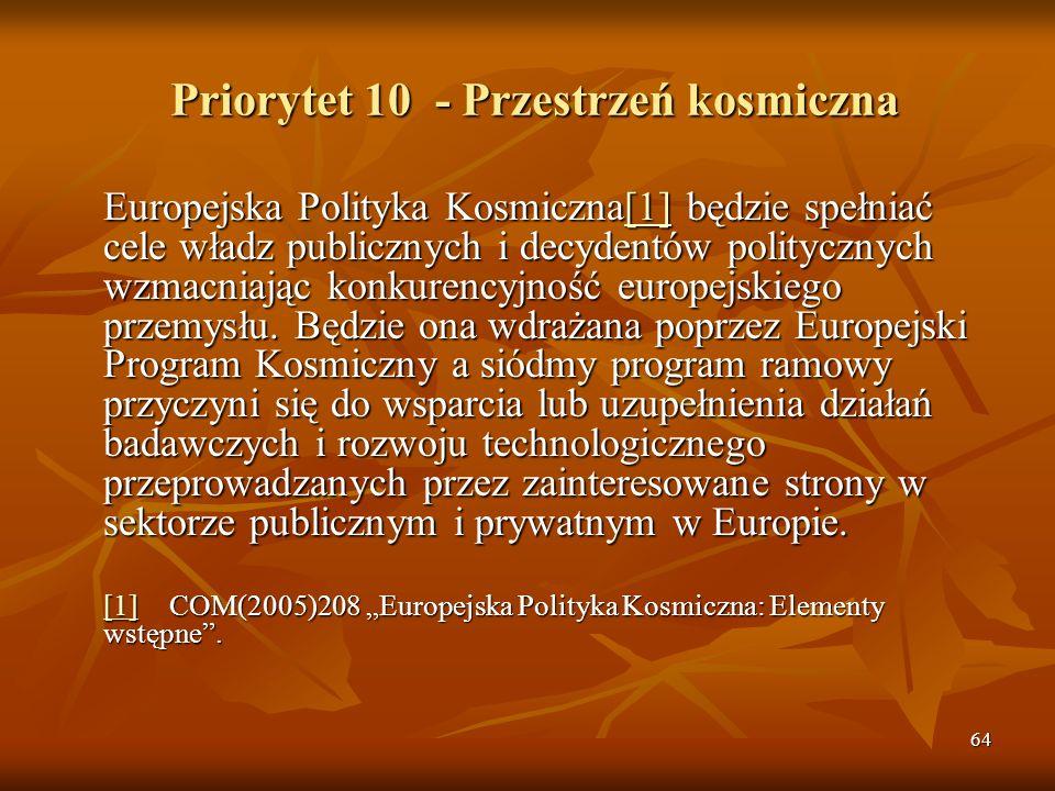 64 Priorytet 10 - Przestrzeń kosmiczna Europejska Polityka Kosmiczna[1] będzie spełniać cele władz publicznych i decydentów politycznych wzmacniając konkurencyjność europejskiego przemysłu.