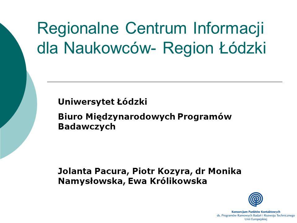 Regionalne Centrum Informacji dla Naukowców- Region Łódzki Uniwersytet Łódzki Biuro Międzynarodowych Programów Badawczych Jolanta Pacura, Piotr Kozyra
