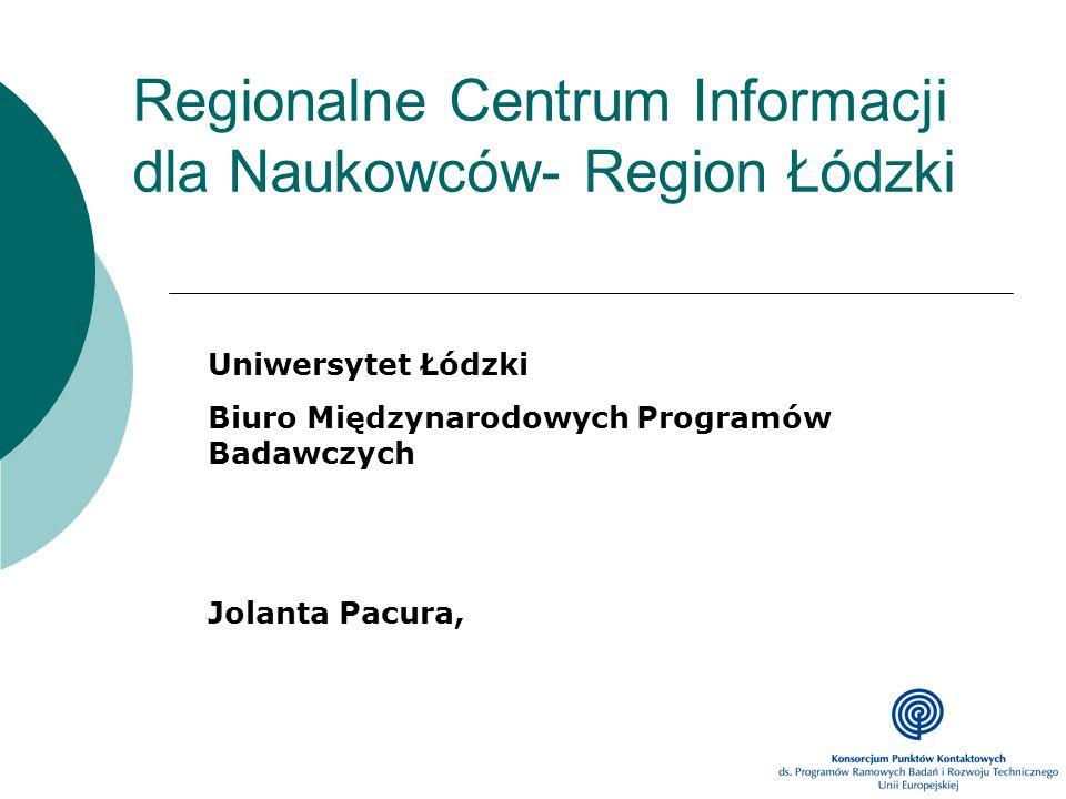 Regionalne Centrum Informacji dla Naukowców- Region Łódzki Uniwersytet Łódzki Biuro Międzynarodowych Programów Badawczych Jolanta Pacura,